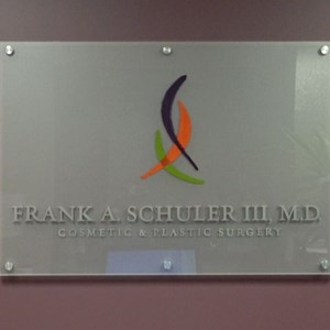 3-Dimensional Letters on Acrylic with standoffs - Dr. Frank A. Schuler III, M.D., Newport News, VA