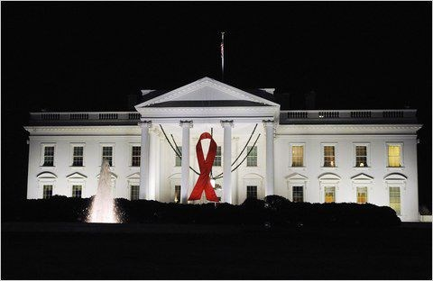 AIDS Ribbon at the White House