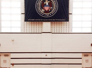 Dye Sub Fabric Banner Hanging in High School Gym