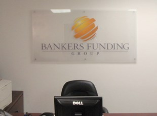 Reverse Printed Clear Acrylic with Silver Standoffs for Bankers Funding Group