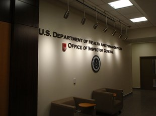 Aluminum Dimensional Lettering Lobby Logo for US Department of Health and Human Services in Washington DC