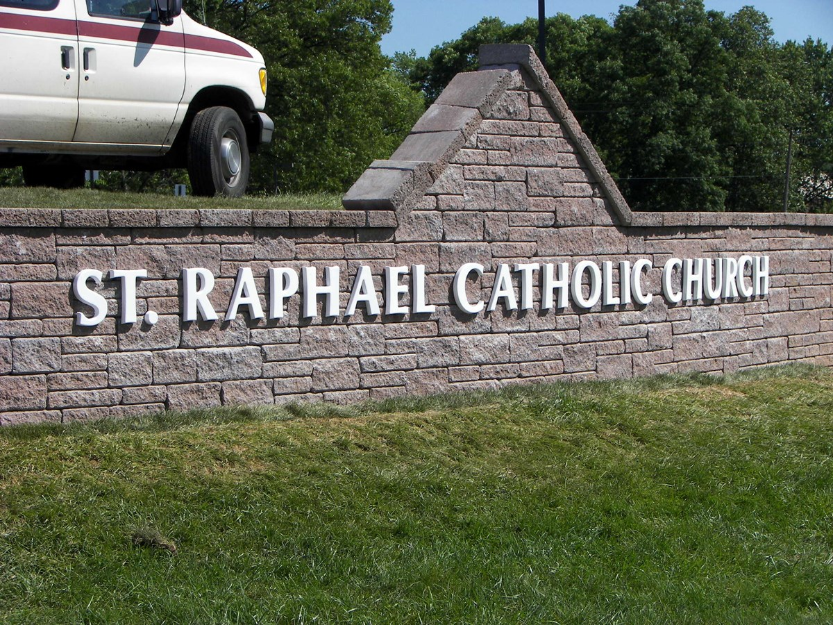 Outdoor Dimensional Lettering On Masonry for St. Raphael Catholic Church