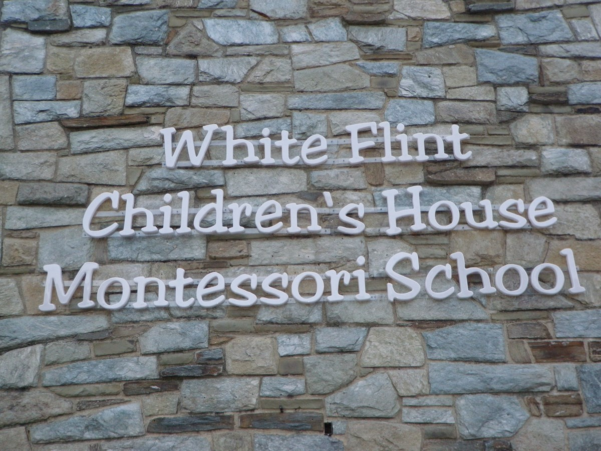 Dimensional Lettering on Masonry for White Flint Children's House Montessori School in Rockville, MD