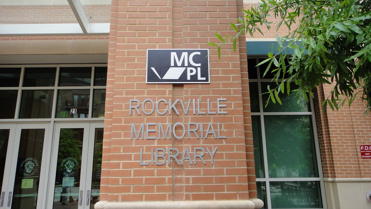 Dimensional Outdoor Lettering on Brick  for Montgomery County Public Libraries at the Rockville Memorial Library in Rockville, MD
