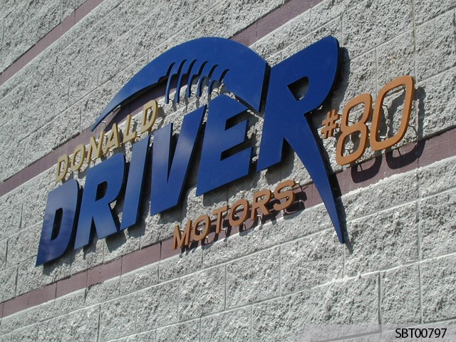 Outdoor Dimensional Lettering on Masonry with Standoffs for Donald Driver Motors