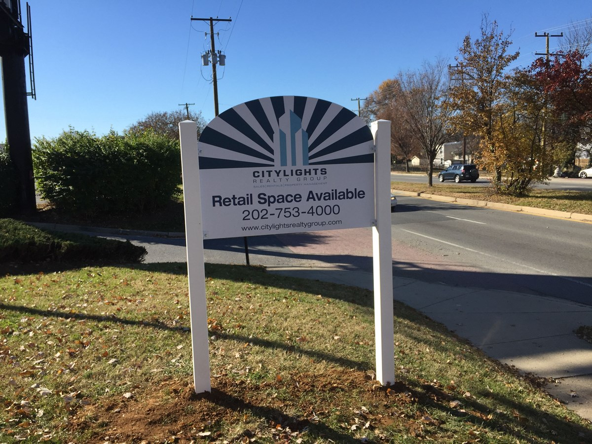 Post and Panel sign for City Lights Realty Group in Washington, DC
