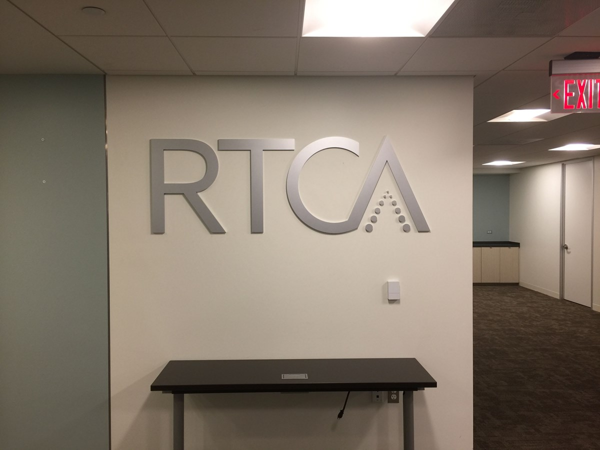 Flat Cut Aluminum Logo for RTCA in Washington, DC