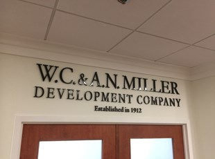 Acrylic 3D letters for WC & AN Miller in Maryland