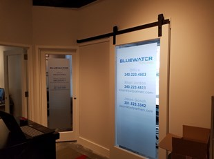 Printed Frosted Vinyl for BlueWater Financial Partners in Washington, DC