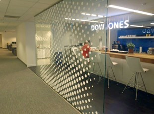 White Vinyl Distraction Graphics for Dow Jones in DC