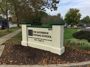 Monument Sign at The Katherine Thomas School in Rockville, MD