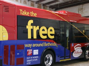 Vehicle Graphics for the Bethesda Circulator in Bethesda, MD.