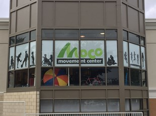 Mesh Banners on Windows at Moco Movement Center in Kensington, MD