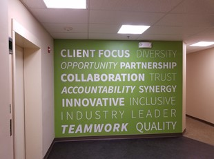 Wall graphics for Hess Construction in Gaithersburg, MD