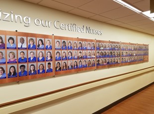 Dedication Wall for Certified Nurses at Adventist Hospital - Shady Grove