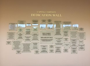 Donor Dedication Wall for Har Shalom in Potomac, MD