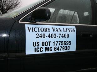 Vehicle Magnet for Victory Van Lines in Rockville, MD.
