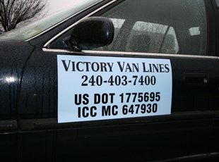 Vehicle Magnet for Victory Van Lines in Rockville, MD.