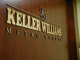 Black Acrylic with Brushed Gold Face Dimensional Lettering for Keller Williams