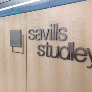 Indoor Flat Cut Metal Dimensional Lettering for Savills Studley