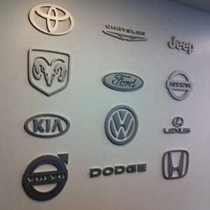 Brushed Aluminum Dimensional Logos