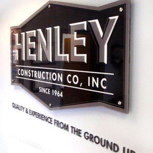 Henley Construction Lobby Sign