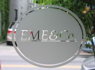 Etched glass window lettering