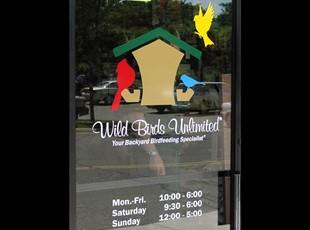 Wild Birds Unlimited Window Lettering