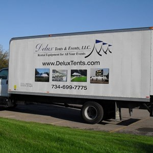 Delux Tent Box Truck Lettering