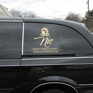 Nie Funeral Home Metallic Gold Window Lettering
