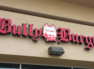 dimensional lettering, logo, illuminated, light, outdoor, bully burgrz, murrieta, signs by tomorrow, temecula, inland valley, southern california