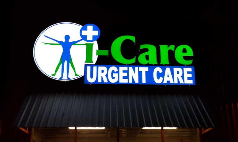 dimensional lettering, logo, illuminated, light, urgent care, icare, murrieta, signs by tomorrow, murrieta, inland valley, southern california