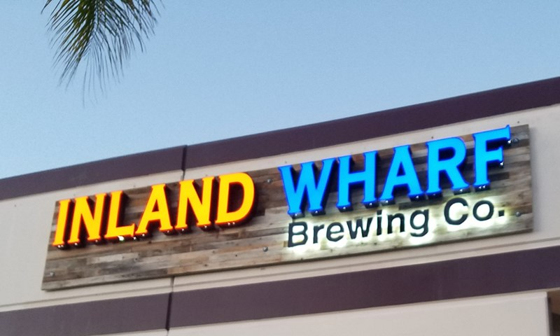 dimensional lettering, logo, illuminated, light, inland wharf, brewery, signs by tomorrow, temecula, inland valley, southern california