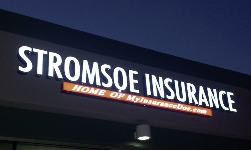 dimensional lettering, logo, illuminated, light, stromsoe insurance, murrieta, signs by tomorrow, temecula, inland valley, southern california