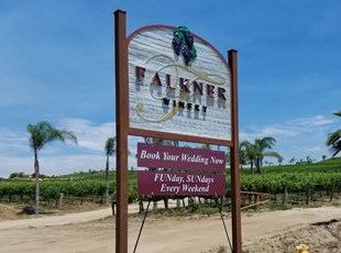 Sandblasted Entry Sign Falkner Winery temecula murrieta signs by tomorrow