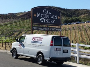 post and panel sign, signs by tomorrow, murrieta, inland valley, southern california, oak mountain winery, temecula