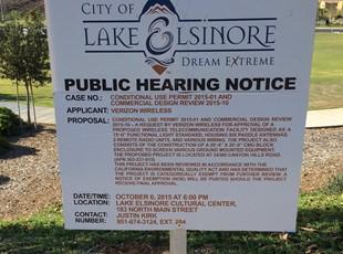 Lake Elsinore Public Hearing Sign