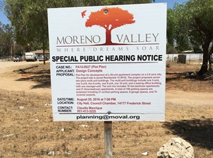 Moreno Valley Public Hearing Notice