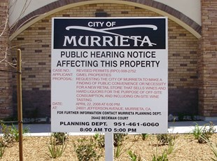 Signs By Tomorrow public hearing notice, City of Murrieta Public Hearing Sign, public hearing notices, riverside county public hearing notice