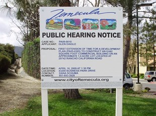 Temecula Public Hearing Sign