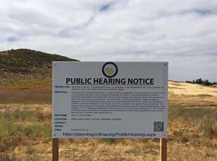 Riverside County Public Hearing Notice Sign