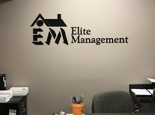 dimensional lettering, logo, custom, indoor, signs by tomorrow, inland valley, southern california, temecula, elite management, murrieta