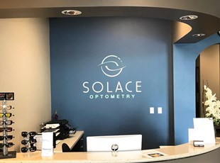 dimensional lettering, logo, custom, indoor, signs by tomorrow, inland valley, southern californiatemecula, solace, eyeware, murrieta