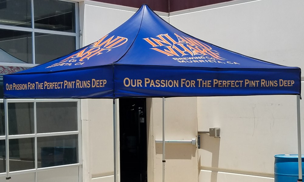 custom canopy, pop-up, tent, inland wharf, brewery, murrieta, signs by tomorrow, temecula, inland valley, southern california