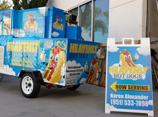 aframe, signage, signs by tomorrow, inland valley, southern california, murrieta, heavenly hot dogs, winchester
