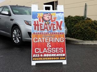 aframe, signage, signs by tomorrow, inland valley, southern california, murrieta, hog heaven, julian