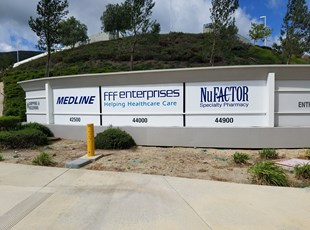 Large Illuminated Monument Signs @ Medline, NuFactor, FFF Facility, Temecula
