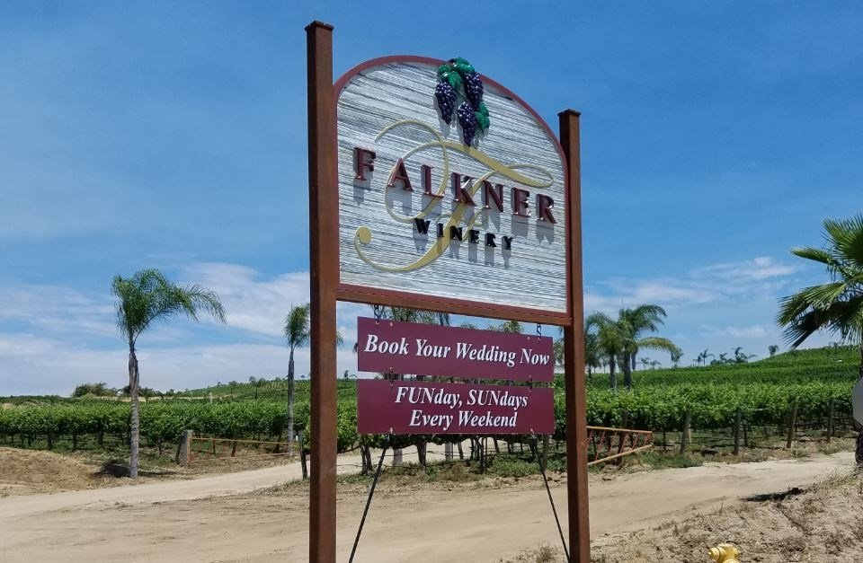 Sandblasted Sign | Rust-look Steel Frame | Routed & Sandblasted Signs | Post & Panel | Temecula Wine Country | Falkner Winery