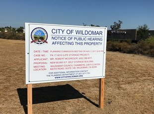 Wildomar Public Hearing Sign