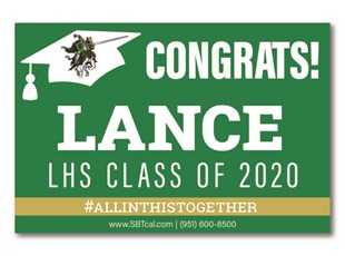 Graduation Signs | Lakeside High School Lancers | Lake Elsinore | Canyon Lake